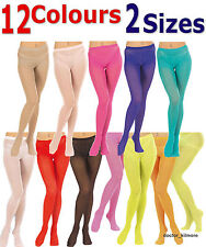 Tights Pantyhose 12 Opaque Bright & Neon Colours. 2 Sizes Normal + XL 40 Denier