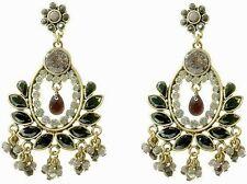 Vintage Burnished Gold Deco Ethnic Moulin Black Stones Chandelier Drop Earrings