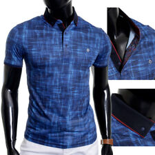 Mens Casual Polo Shirt Unique Design Soft Cotton Blue Metal Badge Fitness Summer