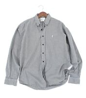 90`s YSL YVES SAINT LAURENT SHIRT GRAY CHECKED BUTTON UP FRONT PINK LOGO SIZE L