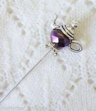 Purple Blue Metalic Bead Teapot HatPin with clutch ~Hat Brooch Stick Pin 76mm