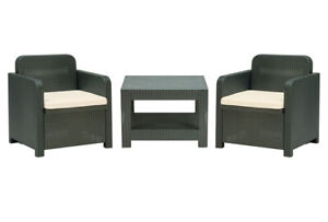 Italian Made Patio Furniture Set 2 Chairs & Coffee Table Rattan Anthracite Gray
