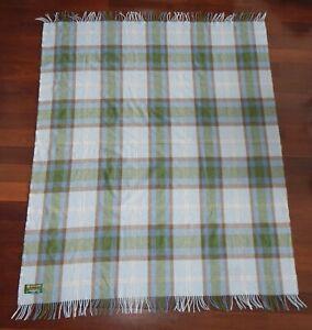 John Hanley Ireland Blue Plaid Lambswool Throw Blanket 54x64 inches Cottagecore