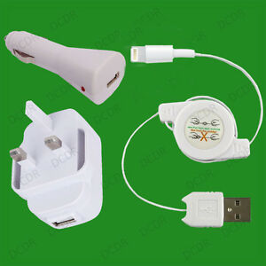 iPhone 5, 5s, iPad, iPad Air Complete Mains & Car Charging Kit, Retractable USB