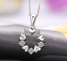 SILVER, PLATINUM PLATED CZ CRYSTAL LOVE HEART CIRCLE NECKLACE PENDANT