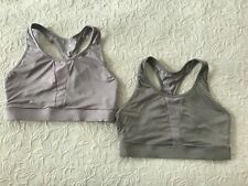 Lot of 2 Athletic Works sports bra women Large gray purple wire free gym #AWL491