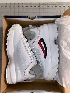 Fila Women's Disruptor II Premium Repeat Sneakers, White Navy Red, 10 M US