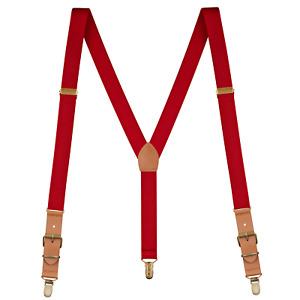 "Buyless Fashion Leather Suspenders Men - 48"" Adjustable Straps 1"" - Y Shape"