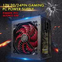 Black 650W Quiet PC Power Supply Unit Quiet 12cm Red Fan PFC ATX 20+4PI SATA
