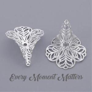 5 x Silver Plated FILIGREE TRUMPET LILY FLOWER BEAD CAP CONES LARGE 29mm x 24mm