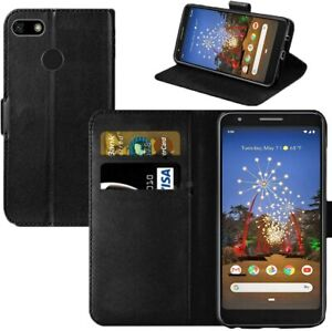 For Google Pixel 3A - Premium Slim Leather Wallet Flip Case Book Folio Cover
