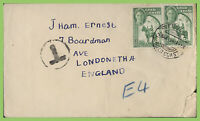 Gold Coast 1949 KGVI ½d pair on cover to England with 'T' postage due