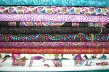 Benartex 'Cat-i-Tude' Stylised Cats Metallic 100% Cotton Fabric by the FQ/M (4FQ