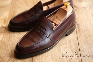 Men's John Lobb Churston Brown Museum Calf Leather Loafers Shoes UK 8 E US 9