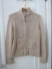 ESPIRIT Womens Size Medium Beige Zip Front High Neck Chunky Cardigan Sweater