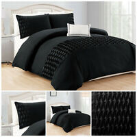 3 Piece Black Duvet Cover Bedding Set with Pillowcases Single Double King Size