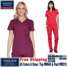 Cherokee Scrubs Set Original Women's Fashion V-Neck Top & Cargo Pant Ww645/Ww210