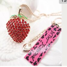 Betsey Johnson Necklace Red Strawberry Gold Crystals
