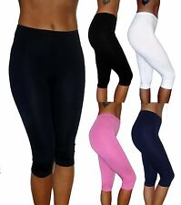 WOMENS LADIES KNEE LENGTH CROPPED LEGGINGS UK 4 - 26 RACE FOR LIFE
