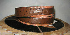 3D LEATHER  MENS WESTERN BELT OSTRICH STAMPED BROWN/TAN RODEO CUTTING REINING 38