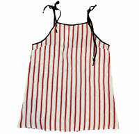 BNWT Zaful Womens Red/White Striped Sleeveless Blouse Top Plus Size XL
