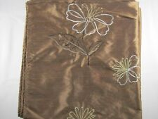 Brown Satiny Curtain Panel with Stitched Floral Pattern – Preowned