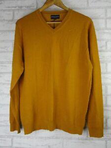 Reserve M man's jumper top brown kint wool v-neck mustard bnwt