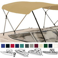 "BIMINI TOP BOAT COVER TAN 3 BOW 72""L 46""H 85""-90""W - W/ BOOT & REAR POLES"