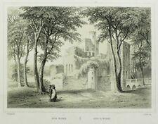 MOSBACH - Ruine von Burg Mosbach - Wilhelm Bogler - Tonlithografie 1850-60