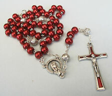 Handmade Small Red Glass Pearl Rosary with Silver Plated Our Father beads