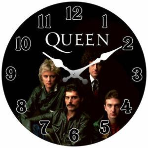 Queen Band Freddie Mercury Glass Wall Clock 17cm Mancave Garage Bar Collectable