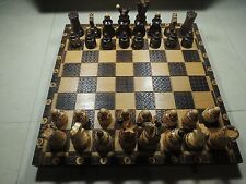 Vintage Handcrafted Hand Carved Etched Beech Wood Chess Board with Full Figures