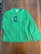 WinterSilks Long Sleeve Embroidery Top with CAMISOLE LARGE Bright Green NWOT