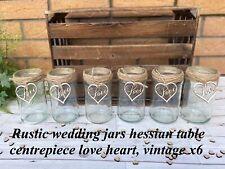 Rustic Wedding Jars Glass Table Centrepiece Love Heart Hessian Vintage X6