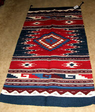 "Thick Hand Woven Wool Throw Rug / Tapestry Southwestern 32x64"" 406"