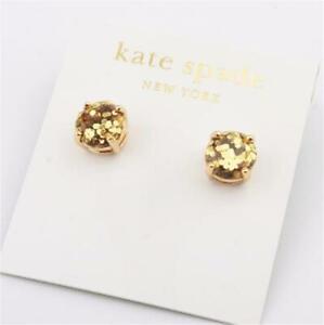 Kate Spade New York Gold Glitter Mini Round Stud  Earrings