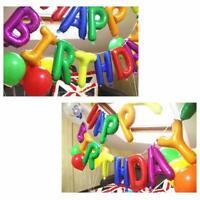 Rainbow Happy Birthday Foil Balloon Bunting Banner Set + FREE Straw and Ribbon