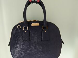 BURBERRY Heritage Grain Small Orchard Bowling Bag Navy Blue RRP $2040 new