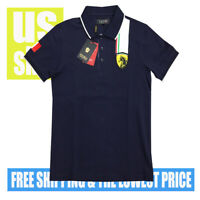 Pavini NWT Men's Italian Style P685  SLIM Navy Polo Shirt LARGE MSRP $69.99