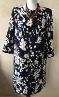 Boden Navy Floral Mix 3/4 Sleeved Scoop Neck Dress Size 10 Regular