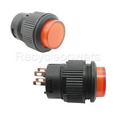 2x On/Off 3A 250V SPST AC 16mm Push Button Switch 503AD Self-locking Red Light