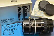 c1976 Nikon Micro-NIKKOR F 55mm 3.5 Non-AI K TYPE Mint in Box VTG F2S F2SB Era