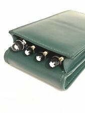 Green Triple/quadruple Magnetic Pen Case/Pouch. Real Soft Leather Hand Made