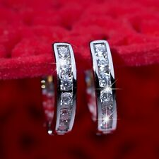 18k white gold gf made with Swarovski crystal huggies classic earrings SMALL