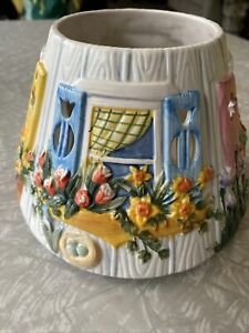 """Yankee Ceramic Spring Garden Window Candle topper 5"""" Tall 7"""" Wide"""