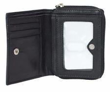 Women's Black Genuine Leather Wallet RFID Blocking Credit Card Zip Around Bifold