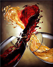Limited Edition Giclee of Artist Original Heart Love White Red Wine Art Painting