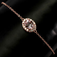 Unheated Oval Morganite 8x6mm Cz Rose Gold Plate 925 Sterling Silver Bracelet