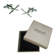 Mens Silver Crossed Oars Sailer Rower Cufflinks & Gift Box By Onyx Art
