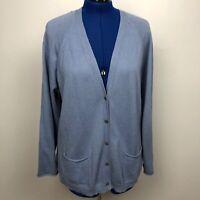 J.Jill Women's Size L Blue Button Front Cardigan Cotton Wool Cashmere Blend
